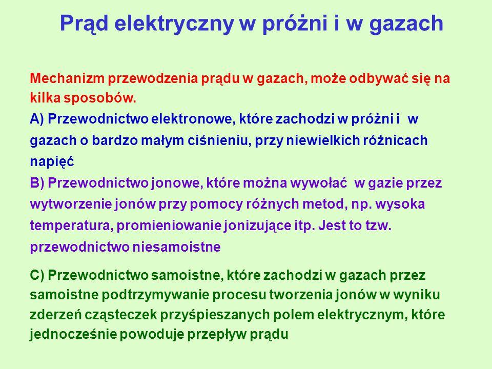 Prąd elektryczny w próżni i w gazach Mechanizm przewodzenia prądu w gazach, może odbywać się na kilka sposobów.