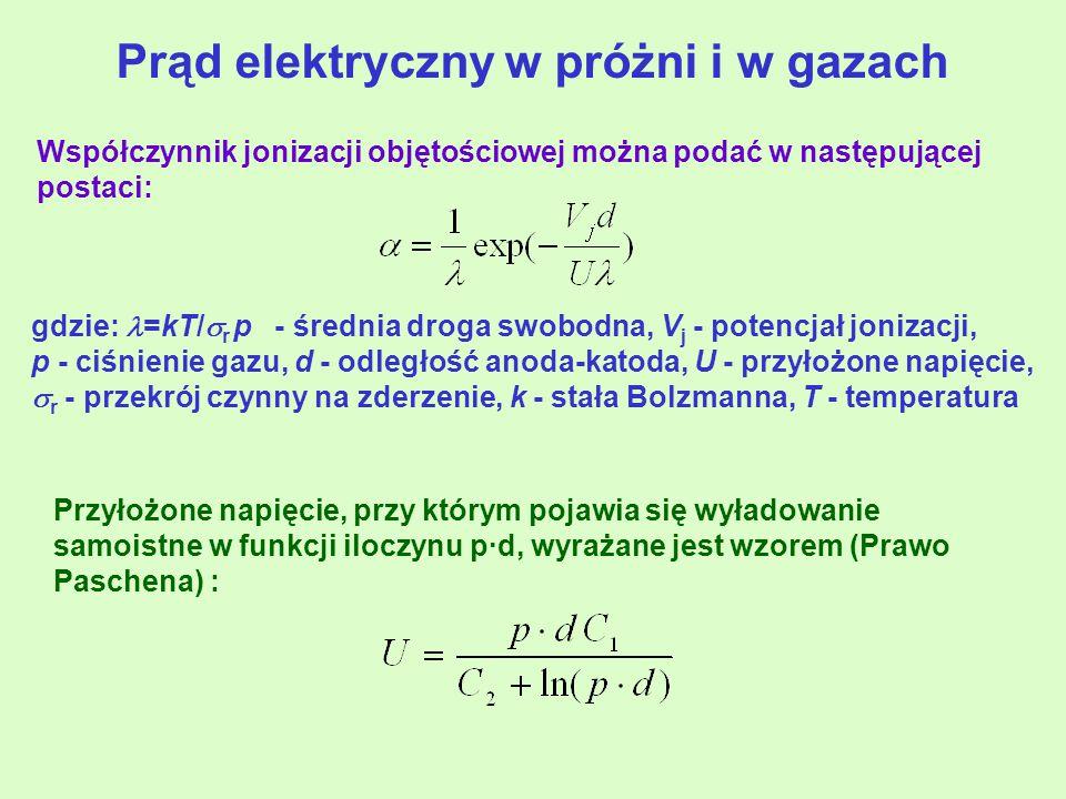 gdzie: =kT/  r p - średnia droga swobodna, V j - potencjał jonizacji, p - ciśnienie gazu, d - odległość anoda-katoda, U - przyłożone napięcie,  r - przekrój czynny na zderzenie, k - stała Bolzmanna, T - temperatura Przyłożone napięcie, przy którym pojawia się wyładowanie samoistne w funkcji iloczynu p·d, wyrażane jest wzorem (Prawo Paschena) : Współczynnik jonizacji objętościowej można podać w następującej postaci: Prąd elektryczny w próżni i w gazach