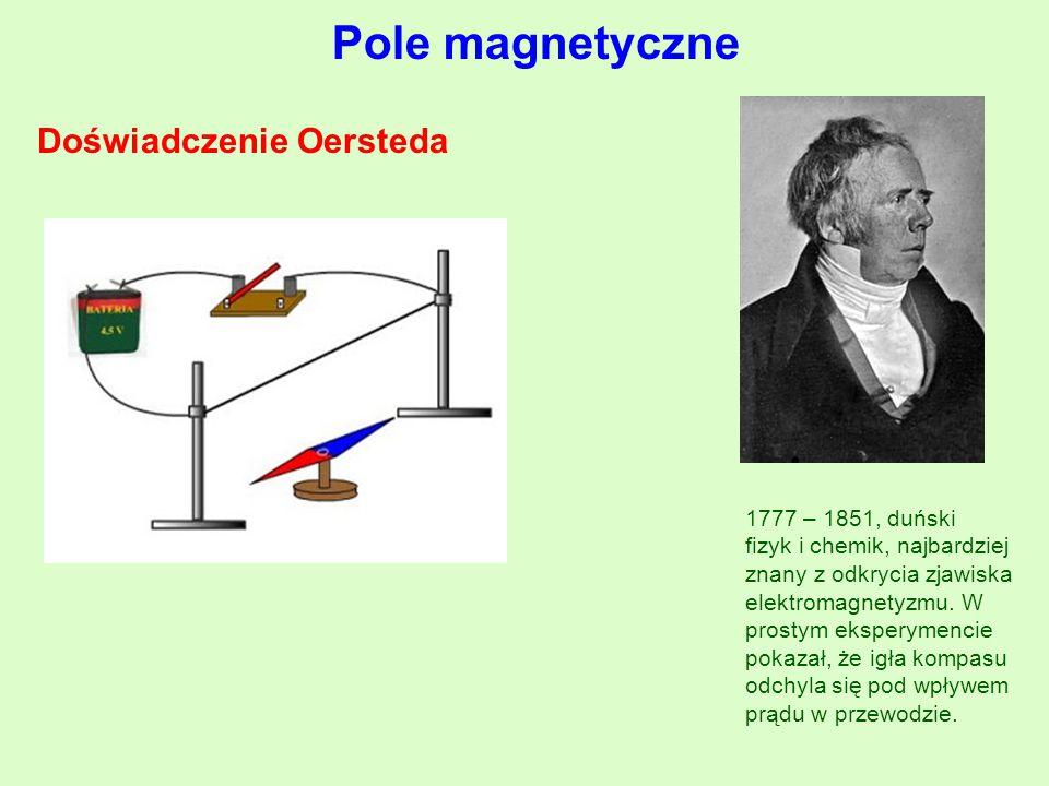 Pole magnetyczne Doświadczenie Oersteda 1777 – 1851, duński fizyk i chemik, najbardziej znany z odkrycia zjawiska elektromagnetyzmu.