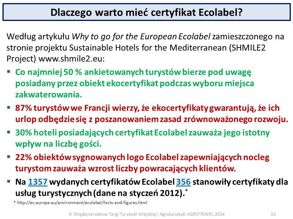 VI Międzynarodowe Targi Turystyki Wiejskiej i Agroturystyki AGROTRAVEL 2014 Dlaczego warto mieć certyfikat Ecolabel.