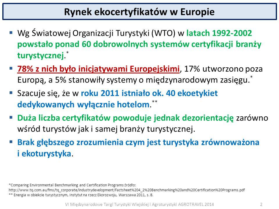 VI Międzynarodowe Targi Turystyki Wiejskiej i Agroturystyki AGROTRAVEL 2014 Rynek ekocertyfikatów w Europie  Wg Światowej Organizacji Turystyki (WTO) w latach 1992-2002 powstało ponad 60 dobrowolnych systemów certyfikacji branży turystycznej.