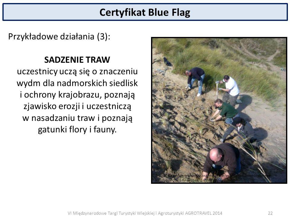 VI Międzynarodowe Targi Turystyki Wiejskiej i Agroturystyki AGROTRAVEL 2014 Certyfikat Blue Flag Przykładowe działania (3): SADZENIE TRAW uczestnicy uczą się o znaczeniu wydm dla nadmorskich siedlisk i ochrony krajobrazu, poznają zjawisko erozji i uczestniczą w nasadzaniu traw i poznają gatunki flory i fauny.