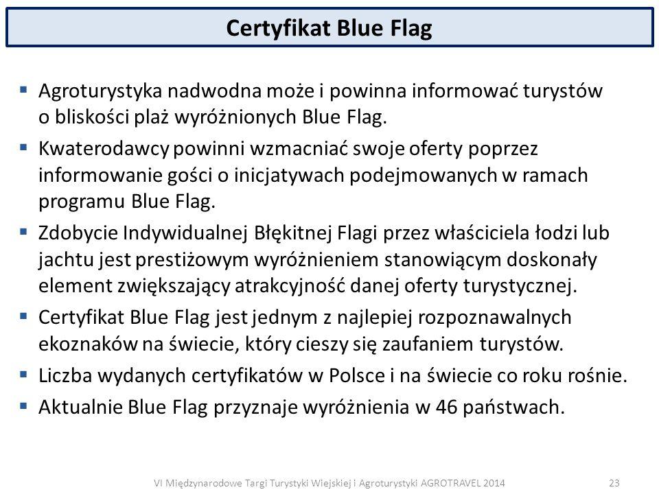 VI Międzynarodowe Targi Turystyki Wiejskiej i Agroturystyki AGROTRAVEL 2014 Certyfikat Blue Flag  Agroturystyka nadwodna może i powinna informować turystów o bliskości plaż wyróżnionych Blue Flag.