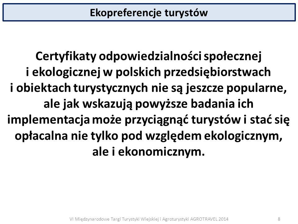 VI Międzynarodowe Targi Turystyki Wiejskiej i Agroturystyki AGROTRAVEL 2014 Ekopreferencje turystów Certyfikaty odpowiedzialności społecznej i ekologicznej w polskich przedsiębiorstwach i obiektach turystycznych nie są jeszcze popularne, ale jak wskazują powyższe badania ich implementacja może przyciągnąć turystów i stać się opłacalna nie tylko pod względem ekologicznym, ale i ekonomicznym.