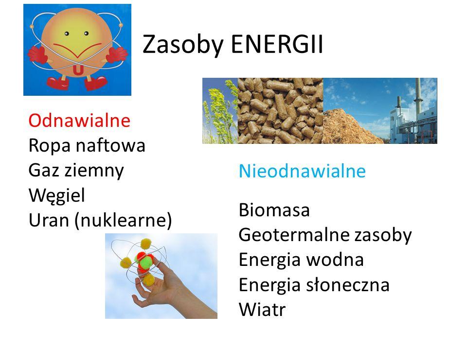 Zasoby ENERGII Odnawialne Ropa naftowa Gaz ziemny Węgiel Uran (nuklearne) Nieodnawialne Biomasa Geotermalne zasoby Energia wodna Energia słoneczna Wiatr
