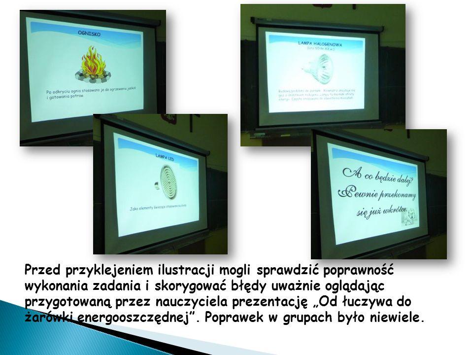Przed przyklejeniem ilustracji mogli sprawdzić poprawność wykonania zadania i skorygować błędy uważnie oglądając przygotowaną przez nauczyciela prezen
