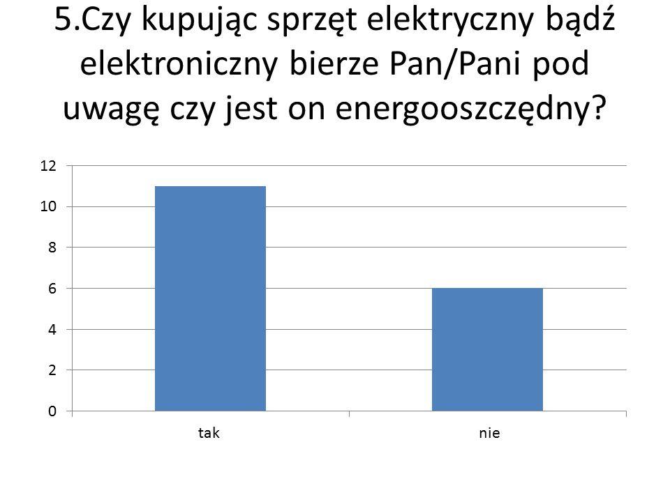 5.Czy kupując sprzęt elektryczny bądź elektroniczny bierze Pan/Pani pod uwagę czy jest on energooszczędny?