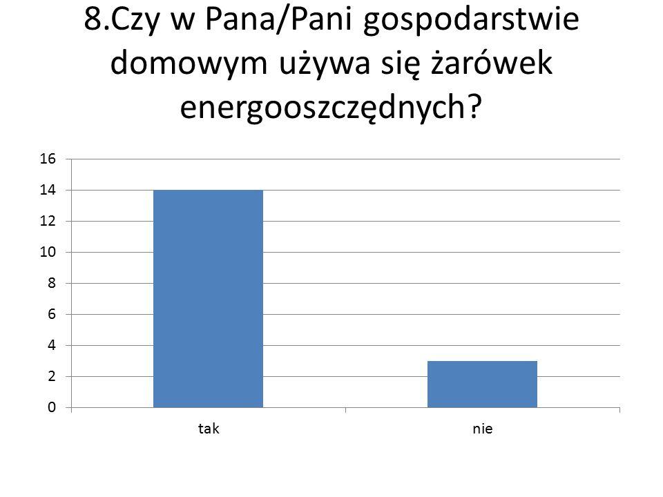 8.Czy w Pana/Pani gospodarstwie domowym używa się żarówek energooszczędnych?