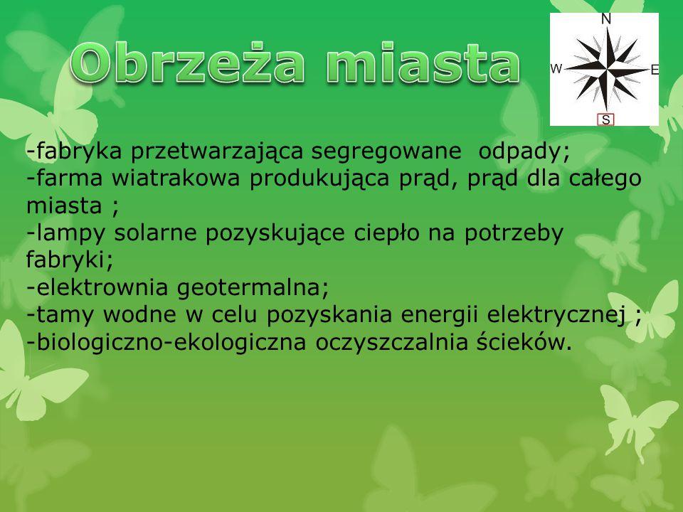 -fabryka przetwarzająca segregowane odpady; -farma wiatrakowa produkująca prąd, prąd dla całego miasta ; -lampy solarne pozyskujące ciepło na potrzeby fabryki; -elektrownia geotermalna; -tamy wodne w celu pozyskania energii elektrycznej ; -biologiczno-ekologiczna oczyszczalnia ścieków.