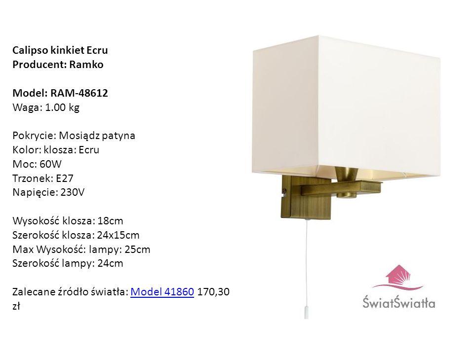 Calipso kinkiet Ecru Producent: Ramko Model: RAM-48612 Waga: 1.00 kg Pokrycie: Mosiądz patyna Kolor: klosza: Ecru Moc: 60W Trzonek: E27 Napięcie: 230V