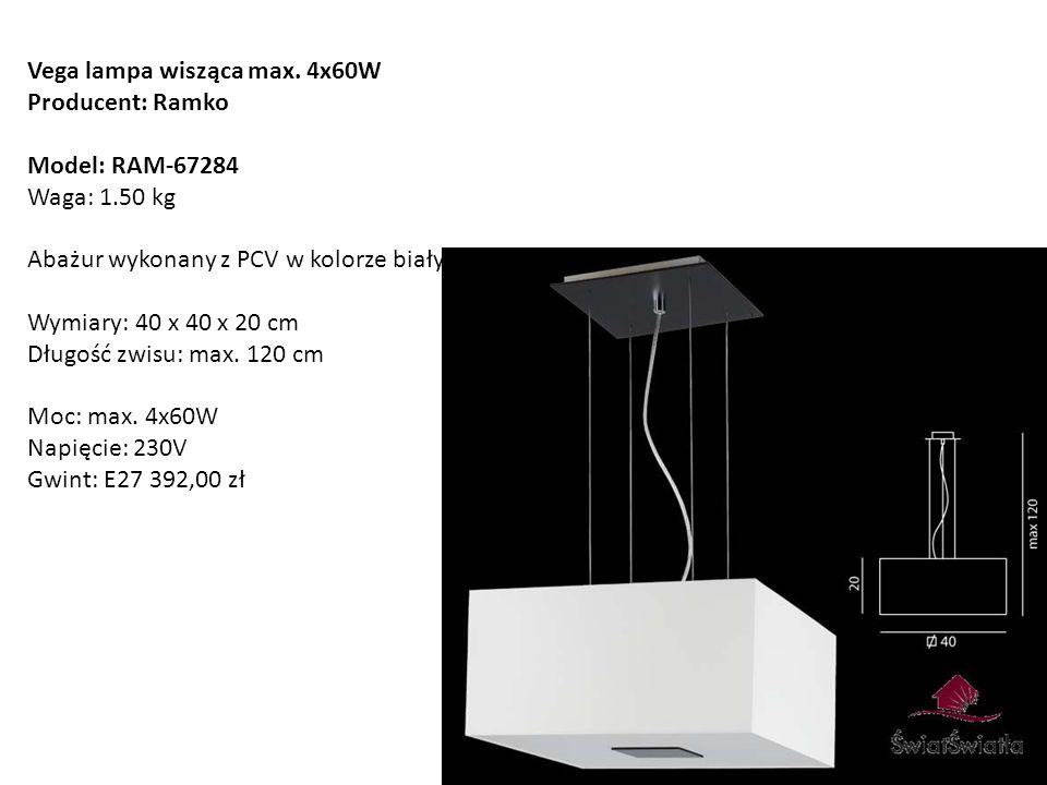 Vega lampa wisząca max. 4x60W Producent: Ramko Model: RAM-67284 Waga: 1.50 kg Abażur wykonany z PCV w kolorze białym Wymiary: 40 x 40 x 20 cm Długość