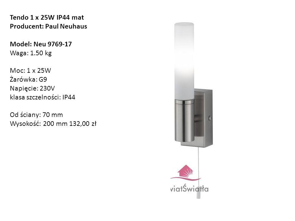 Tendo 1 x 25W IP44 mat Producent: Paul Neuhaus Model: Neu 9769-17 Waga: 1.50 kg Moc: 1 x 25W Żarówka: G9 Napięcie: 230V klasa szczelności: IP44 Od ści