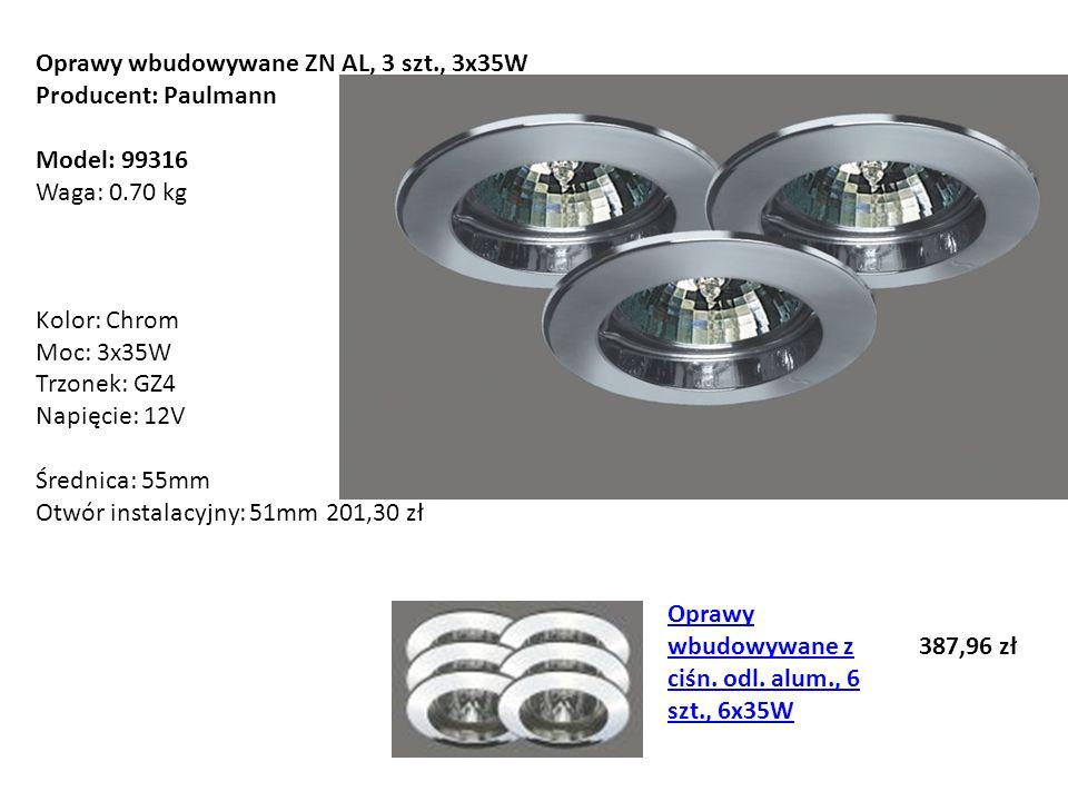 Oprawy wbudowywane ZN AL, 3 szt., 3x35W Producent: Paulmann Model: 99316 Waga: 0.70 kg Kolor: Chrom Moc: 3x35W Trzonek: GZ4 Napięcie: 12V Średnica: 55