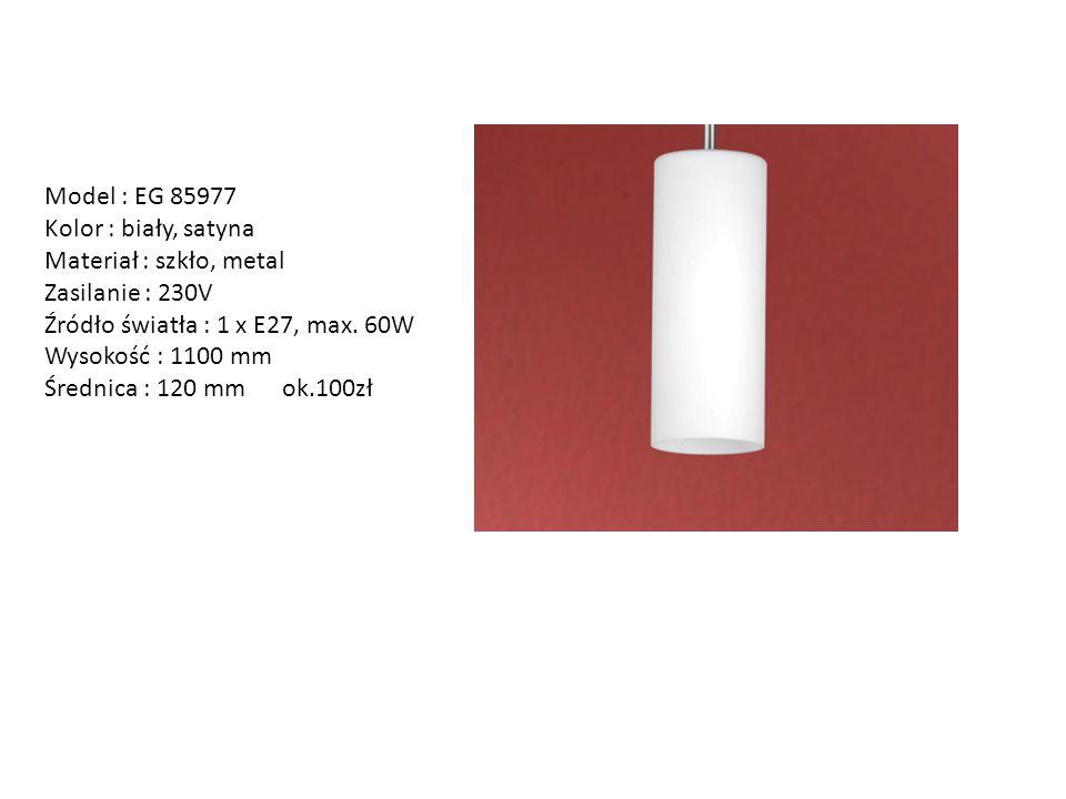 Model : EG 85977 Kolor : biały, satyna Materiał : szkło, metal Zasilanie : 230V Źródło światła : 1 x E27, max. 60W Wysokość : 1100 mm Średnica : 120 m