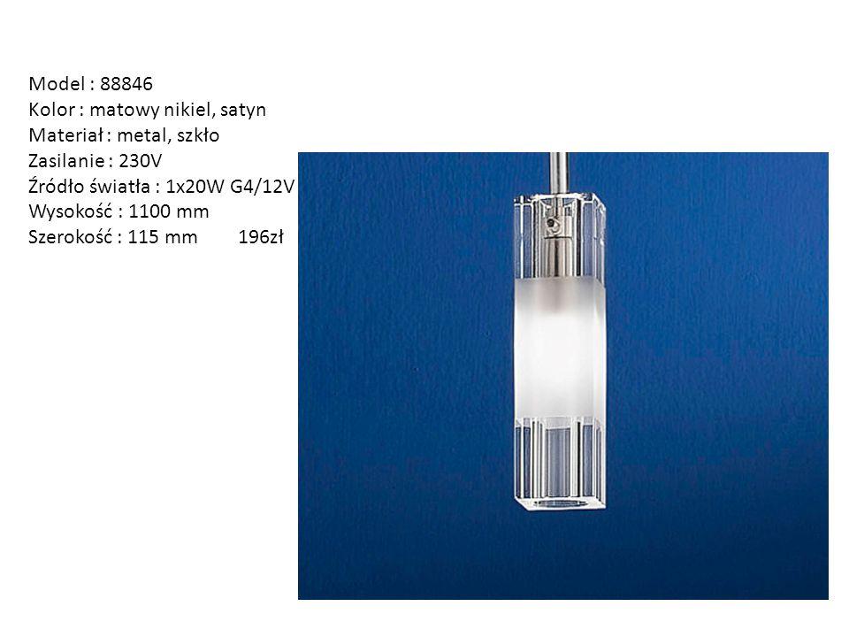 Model : 88846 Kolor : matowy nikiel, satyn Materiał : metal, szkło Zasilanie : 230V Źródło światła : 1x20W G4/12V Wysokość : 1100 mm Szerokość : 115 m