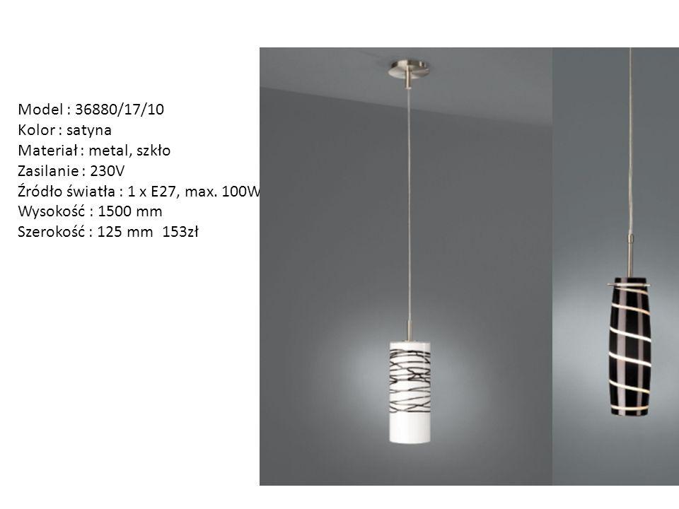 Model : 36880/17/10 Kolor : satyna Materiał : metal, szkło Zasilanie : 230V Źródło światła : 1 x E27, max. 100W Wysokość : 1500 mm Szerokość : 125 mm
