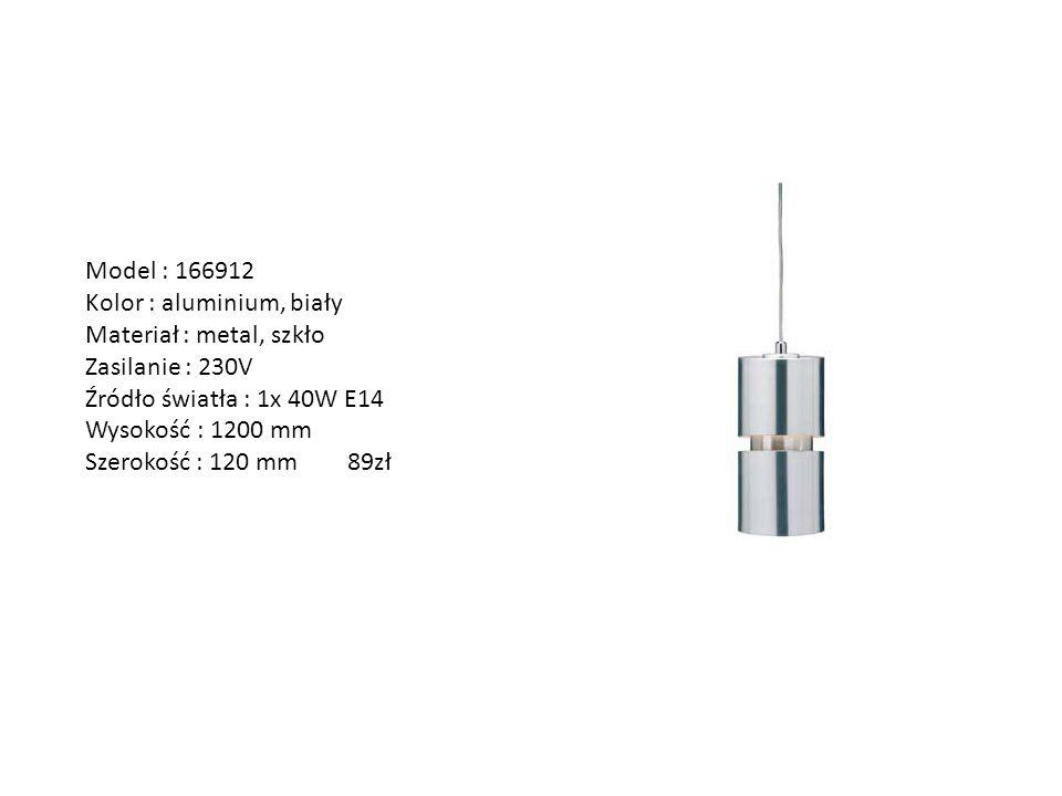 Model : 166912 Kolor : aluminium, biały Materiał : metal, szkło Zasilanie : 230V Źródło światła : 1x 40W E14 Wysokość : 1200 mm Szerokość : 120 mm 89z