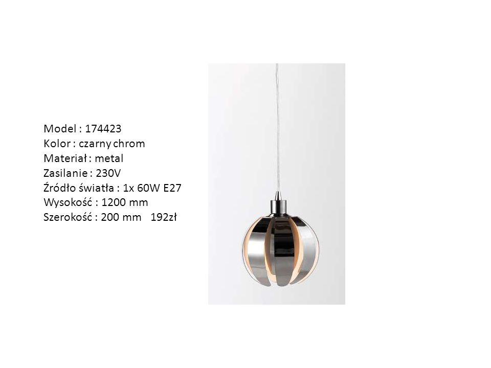 Model : 174423 Kolor : czarny chrom Materiał : metal Zasilanie : 230V Źródło światła : 1x 60W E27 Wysokość : 1200 mm Szerokość : 200 mm 192zł