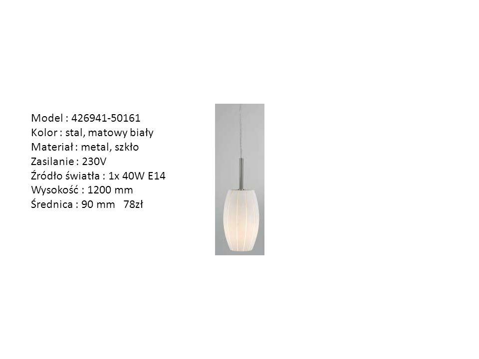 Model : 426941-50161 Kolor : stal, matowy biały Materiał : metal, szkło Zasilanie : 230V Źródło światła : 1x 40W E14 Wysokość : 1200 mm Średnica : 90
