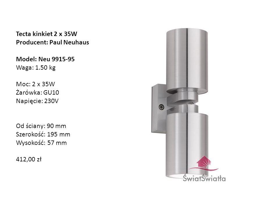 Tecta kinkiet 2 x 35W Producent: Paul Neuhaus Model: Neu 9915-95 Waga: 1.50 kg Moc: 2 x 35W Żarówka: GU10 Napięcie: 230V Od ściany: 90 mm Szerokość: 1