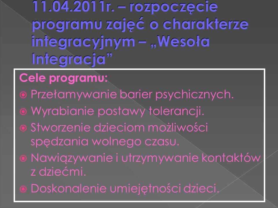 """11.04.2011r. – rozpoczęcie programu zajęć o charakterze integracyjnym – """"Wesoła Integracja"""" Cele programu:  Przełamywanie barier psychicznych.  Wyra"""