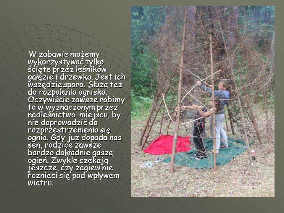 W zabawie możemy wykorzystywać tylko ścięte przez leśników gałęzie i drzewka. Jest ich wszędzie sporo. Służą też do rozpalania ogniska. Oczywiście zaw