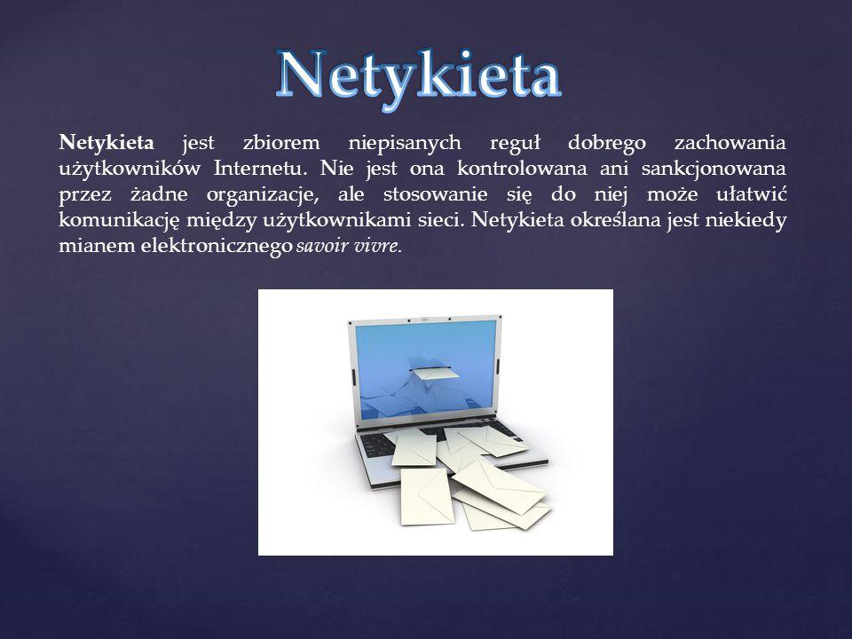 Netykieta jest zbiorem niepisanych reguł dobrego zachowania użytkowników Internetu. Nie jest ona kontrolowana ani sankcjonowana przez żadne organizacj