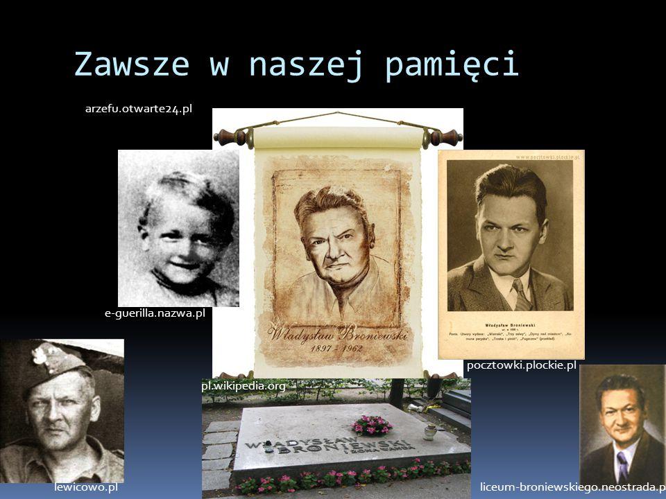 Zawsze w naszej pamięci arzefu.otwarte24.pl pl.wikipedia.org e-guerilla.nazwa.pl pocztowki.plockie.pl lewicowo.plliceum-broniewskiego.neostrada.pl