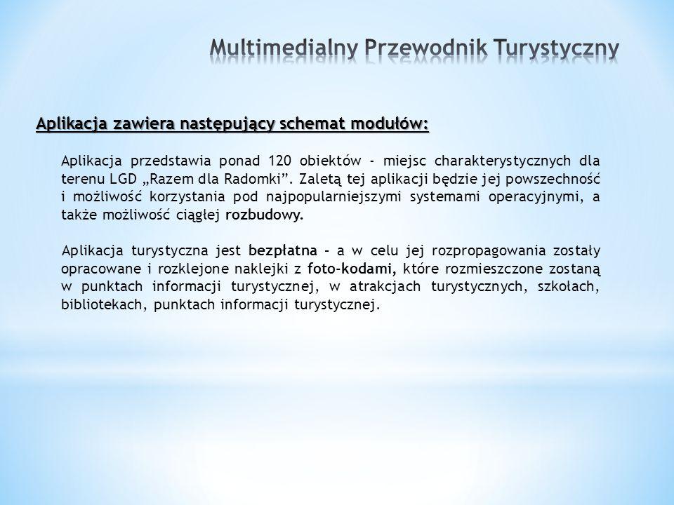 """Aplikacja zawiera następujący schemat modułów: Aplikacja przedstawia ponad 120 obiektów - miejsc charakterystycznych dla terenu LGD """"Razem dla Radomki ."""