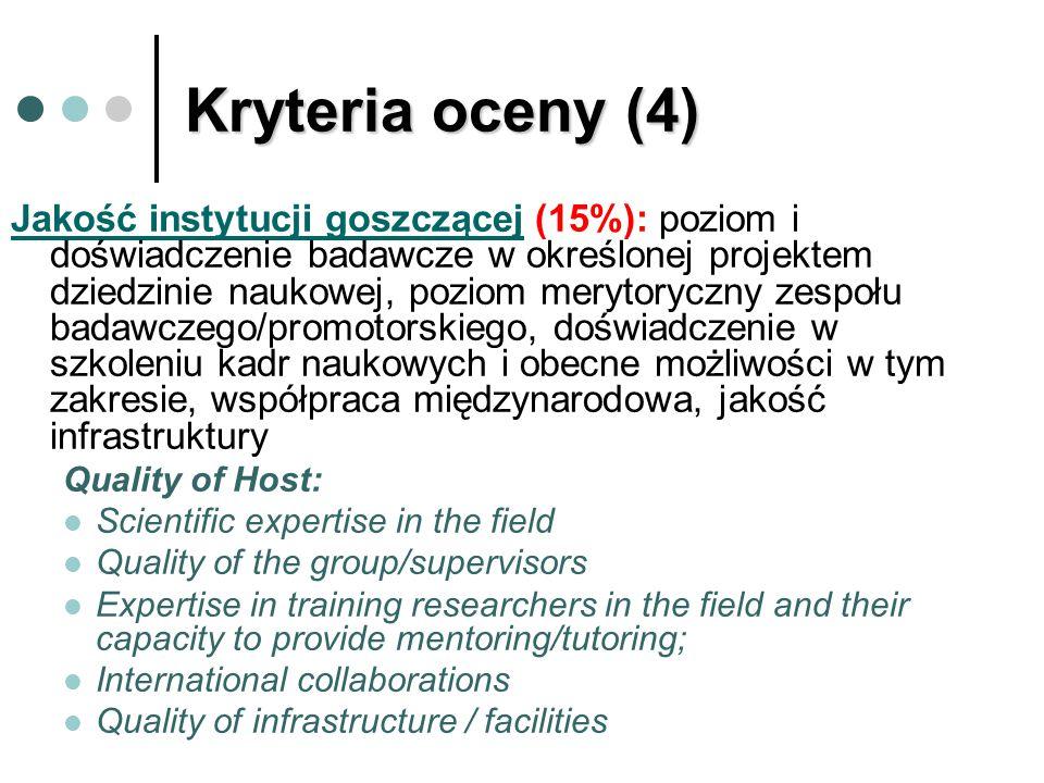 Kryteria oceny (4) Jakość instytucji goszczącej (15%): poziom i doświadczenie badawcze w określonej projektem dziedzinie naukowej, poziom merytoryczny zespołu badawczego/promotorskiego, doświadczenie w szkoleniu kadr naukowych i obecne możliwości w tym zakresie, współpraca międzynarodowa, jakość infrastruktury Quality of Host: Scientific expertise in the field Quality of the group/supervisors Expertise in training researchers in the field and their capacity to provide mentoring/tutoring; International collaborations Quality of infrastructure / facilities