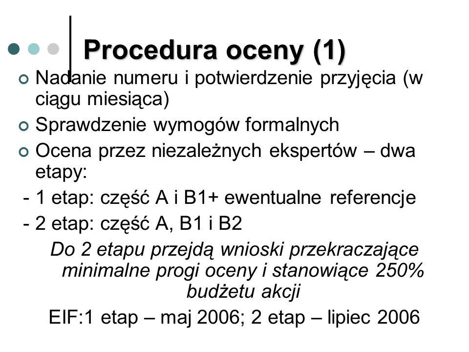 Procedura oceny (1) Nadanie numeru i potwierdzenie przyjęcia (w ciągu miesiąca) Sprawdzenie wymogów formalnych Ocena przez niezależnych ekspertów – dwa etapy: - 1 etap: część A i B1+ ewentualne referencje - 2 etap: część A, B1 i B2 Do 2 etapu przejdą wnioski przekraczające minimalne progi oceny i stanowiące 250% budżetu akcji EIF:1 etap – maj 2006; 2 etap – lipiec 2006