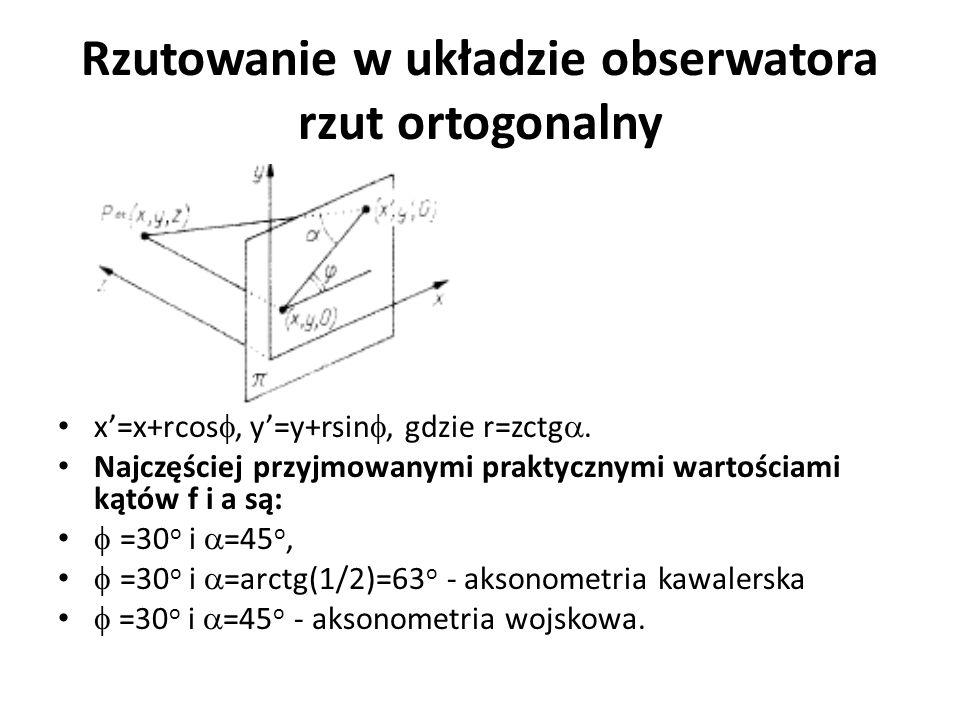 Rzutowanie w układzie obserwatora rzut ortogonalny x'=x+rcos ,y'=y+rsin , gdzie r=zctg . Najczęściej przyjmowanymi praktycznymi wartościami kątów f