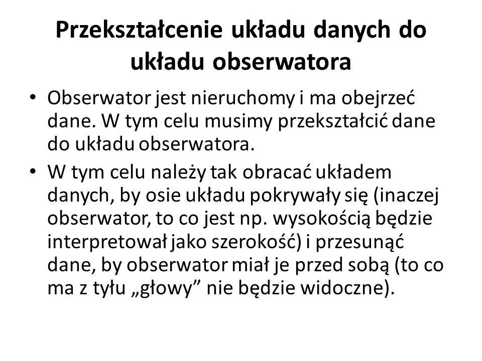 Przekształcenie układu danych do układu obserwatora Układ obserwatora 0xyz, to układ, w którym płaszczyzna  pokrywa się z płaszczyzną z=0.