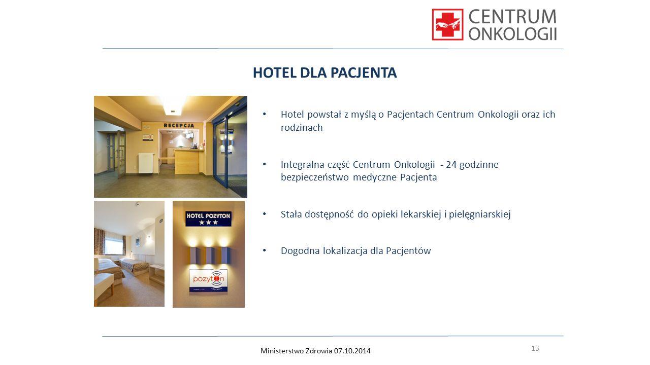 13 HOTEL DLA PACJENTA Hotel powstał z myślą o Pacjentach Centrum Onkologii oraz ich rodzinach Integralna część Centrum Onkologii - 24 godzinne bezpiec