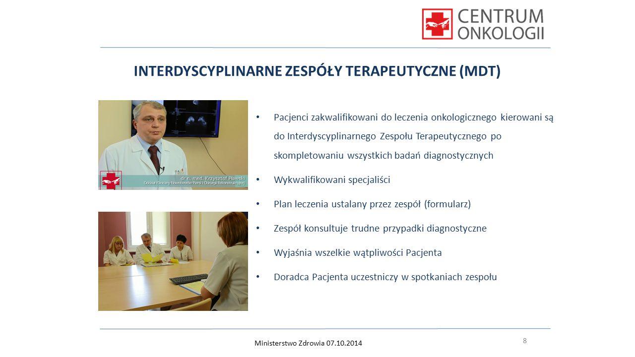8 INTERDYSCYPLINARNE ZESPÓŁY TERAPEUTYCZNE (MDT) Pacjenci zakwalifikowani do leczenia onkologicznego kierowani są do Interdyscyplinarnego Zespołu Tera