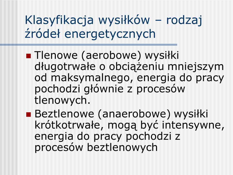 Klasyfikacja wysiłków – rodzaj źródeł energetycznych Tlenowe (aerobowe) wysiłki długotrwałe o obciążeniu mniejszym od maksymalnego, energia do pracy p