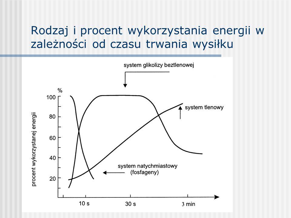Rodzaj i procent wykorzystania energii w zależności od czasu trwania wysiłku
