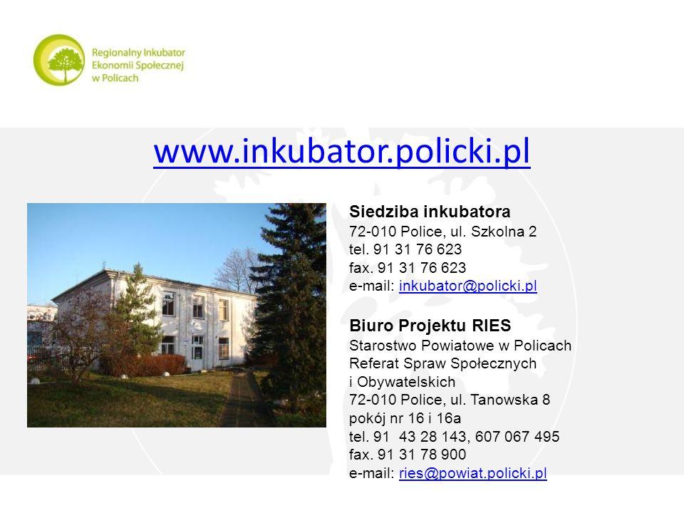 www.inkubator.policki.pl Siedziba inkubatora 72-010 Police, ul.