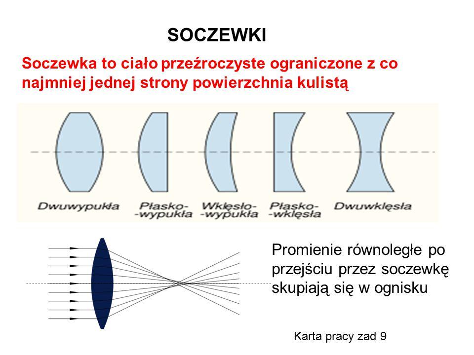 SOCZEWKI Soczewka to ciało przeźroczyste ograniczone z co najmniej jednej strony powierzchnia kulistą Promienie równoległe po przejściu przez soczewkę