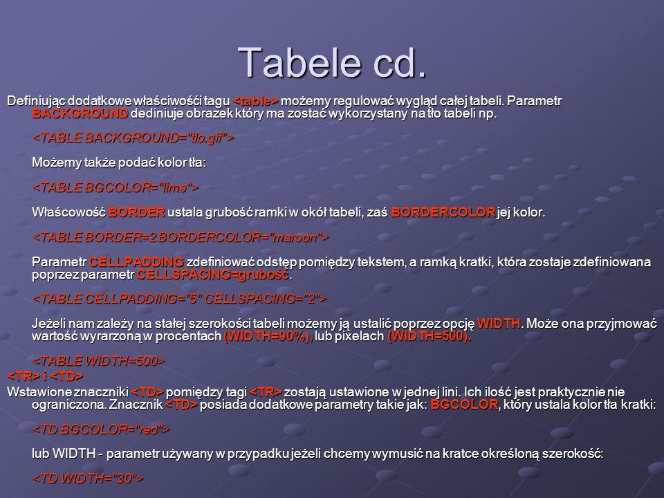 Tabele cd. Definiując dodatkowe właściwośći tagu możemy regulować wygląd całej tabeli. Parametr BACKGROUND dediniuje obrazek który ma zostać wykorzyst