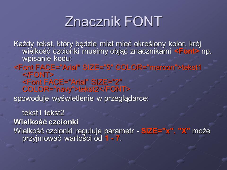 Znacznik FONT Każdy tekst, który będzie miał mieć określony kolor, krój wielkość czcionki musimy objąć znacznikami np. wpisanie kodu: tekst1 tekst2 te