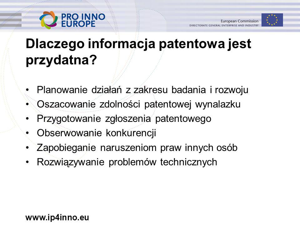 www.ip4inno.eu Dlaczego informacja patentowa jest przydatna.
