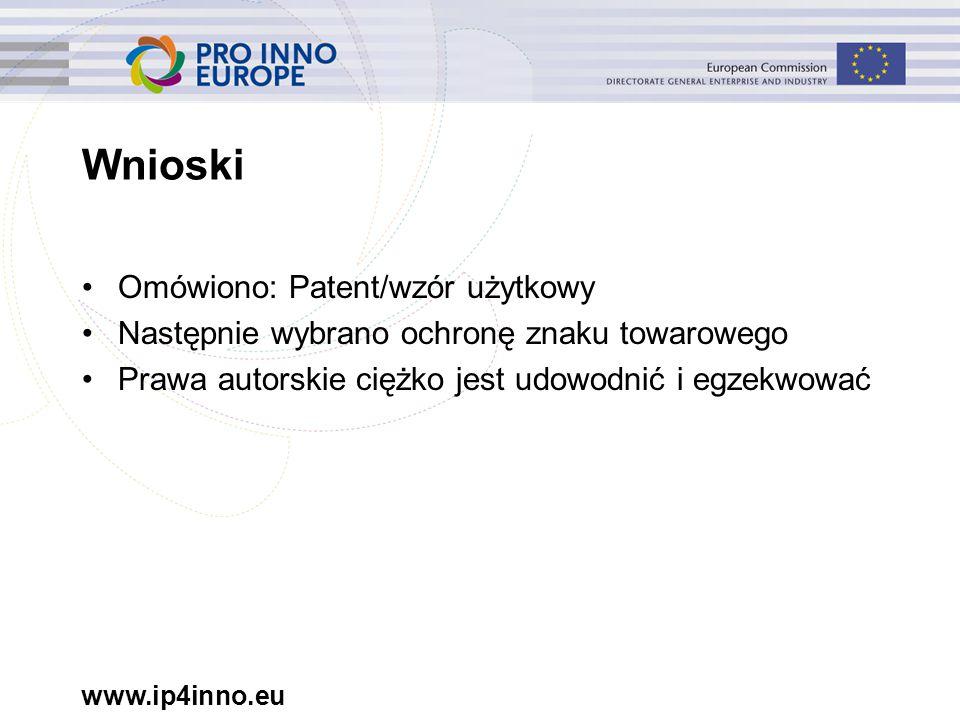 www.ip4inno.eu Wnioski Omówiono: Patent/wzór użytkowy Następnie wybrano ochronę znaku towarowego Prawa autorskie ciężko jest udowodnić i egzekwować