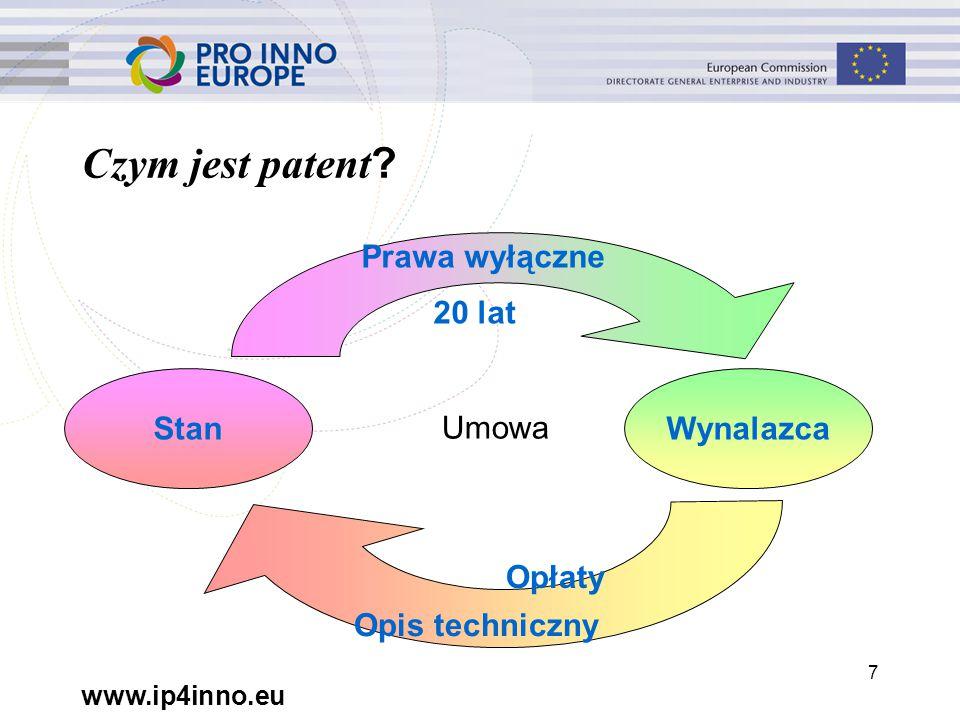 www.ip4inno.eu 7 StanWynalazca Czym jest patent .