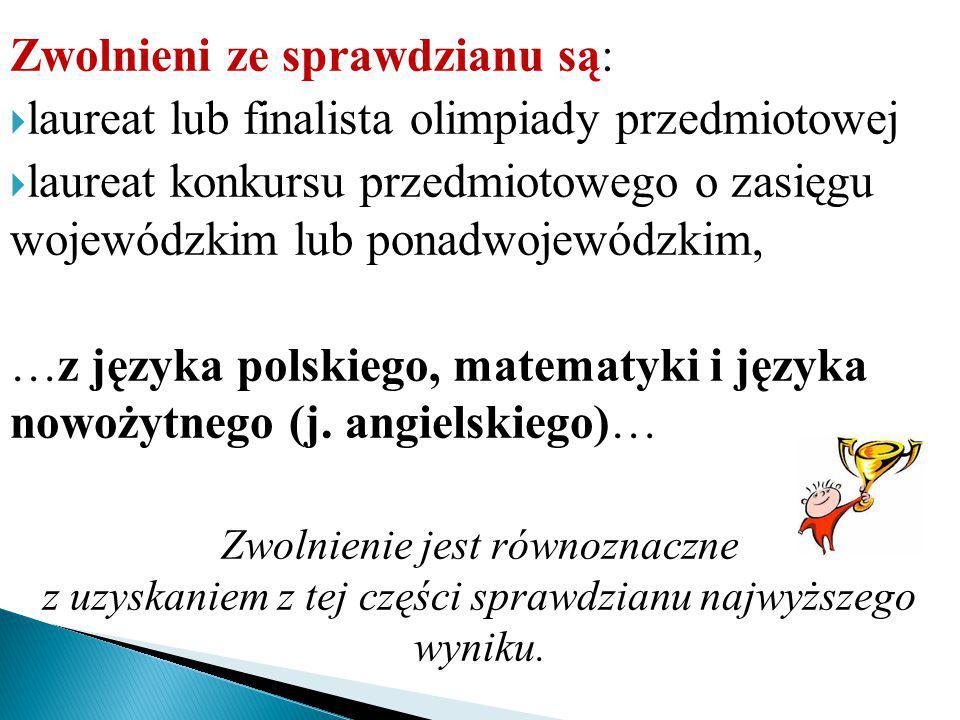 Zwolnieni ze sprawdzianu są:  laureat lub finalista olimpiady przedmiotowej  laureat konkursu przedmiotowego o zasięgu wojewódzkim lub ponadwojewódzkim, …z języka polskiego, matematyki i języka nowożytnego (j.