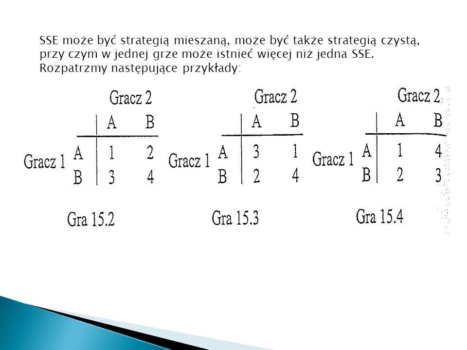 SSE może być strategią mieszaną, może być także strategią czystą, przy czym w jednej grze może istnieć więcej niż jedna SSE.
