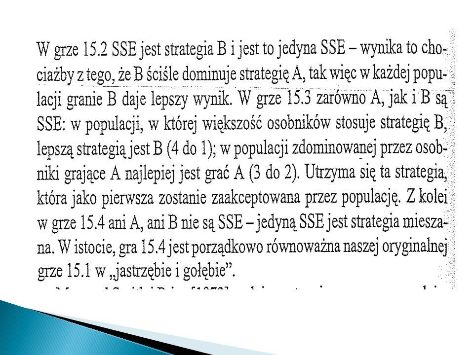 Maynard Smith i Price podają następujące wzoru pozwalające wskazać czyste SSE w symetrycznych grach 2x2.