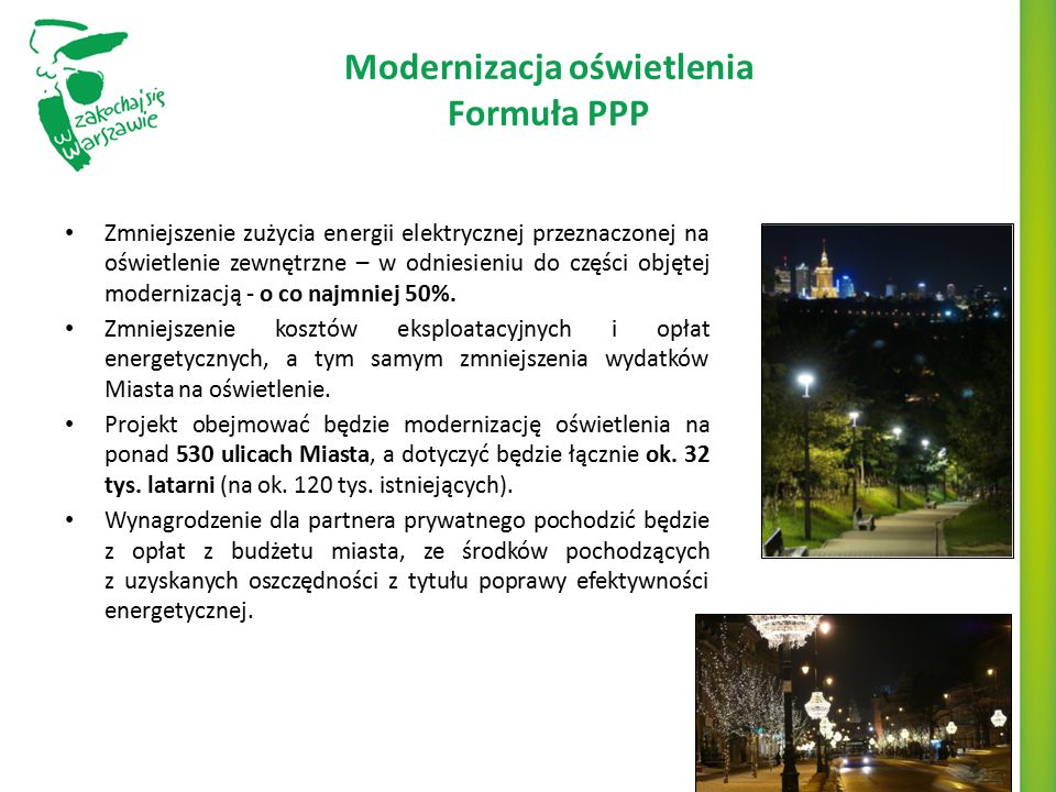 Modernizacja oświetlenia Formuła PPP Zmniejszenie zużycia energii elektrycznej przeznaczonej na oświetlenie zewnętrzne – w odniesieniu do części objęt