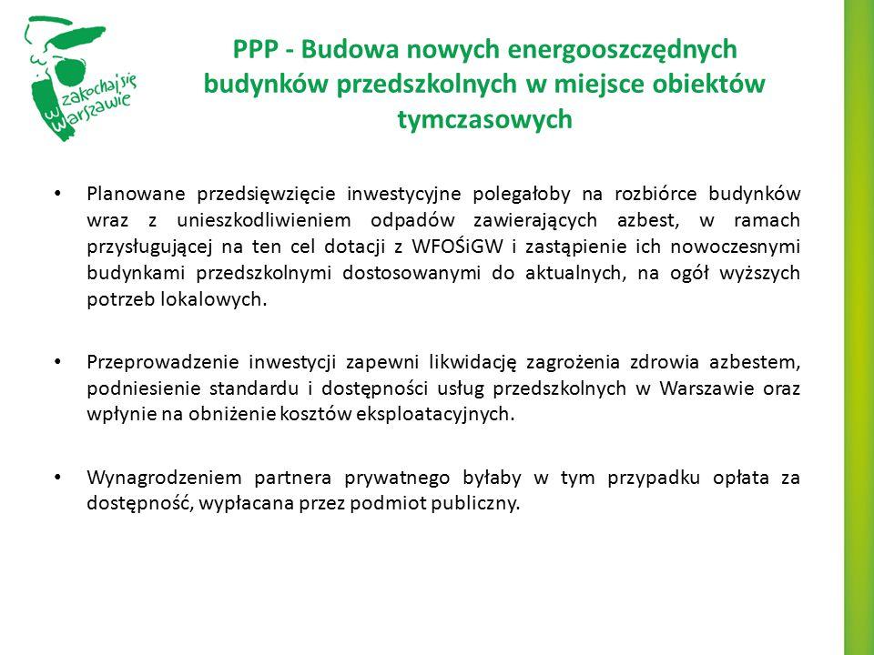 PPP - Budowa nowych energooszczędnych budynków przedszkolnych w miejsce obiektów tymczasowych Planowane przedsięwzięcie inwestycyjne polegałoby na roz