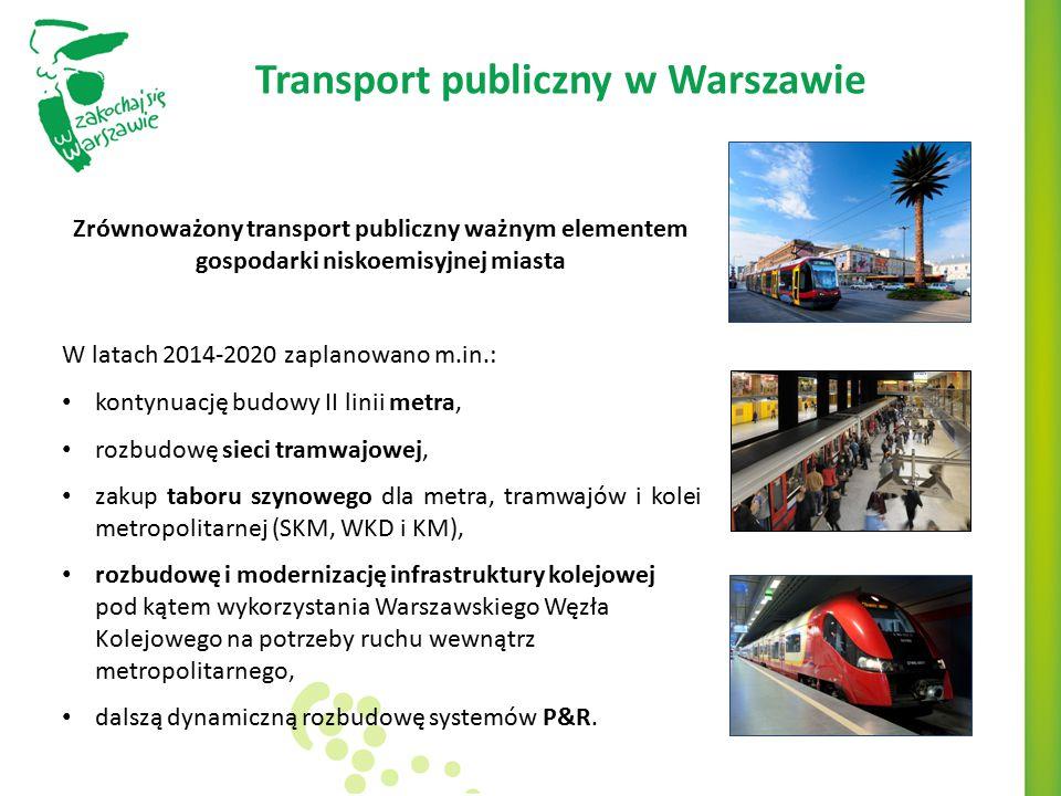 Transport publiczny w Warszawie Zrównoważony transport publiczny ważnym elementem gospodarki niskoemisyjnej miasta W latach 2014-2020 zaplanowano m.in